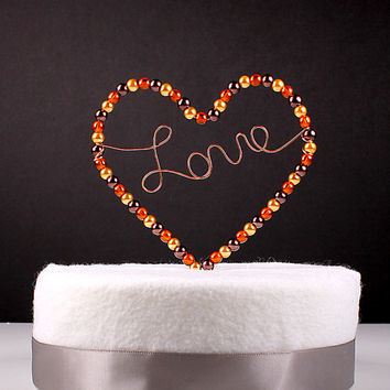 Fall Wedding Cake Topper Heart Love Wire Sculpture Simple Classic