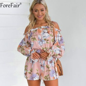 ForeFair Summer Sexy Off Shoulder Floral Print Playsuit Plus Size Slash Neck Long Lantern Sleeve Ruffles Rompers Women Jumpsuit