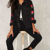 The Ragged Priest Thorn Embroidered Denim Jacket