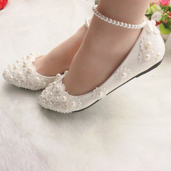 Women Elegant White Lace Wedding Shoes Pearls Ankle Strap Bridal Flats Pointed Slip-on Shoes