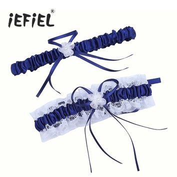 iEFiEL New Arrival Set of 2 Women Satin Lace for Bridal Wedding Garters Belt with Bowknot Women's Clothing Intimates Garters
