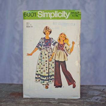 Vintage Sewing Pattern Girl's Caftan Kaftan in Two Lengths, Simplicity 6001, Skirt gathered to Bodice, Gypsy Boho Style Dress Girls size 12