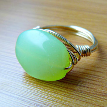 Spring Chalcedony Wire Wrapped Ring - Solid Brass Wire