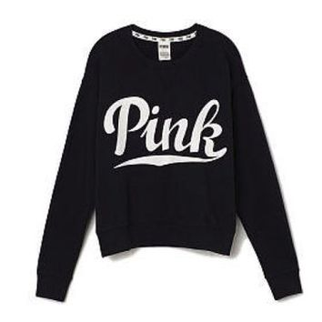 Victoria's Secret PINK Perfect Crew Medium Black White Long Sleeve