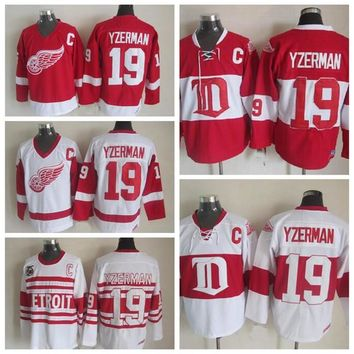 Men #19 Steve Yzerman Jersey Detroit Red Wings Jerseys CCM Vintage 75th Throwback Hockey Jerseys Winter Classic Alumni Red Stitched C Patch