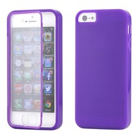 Purple Hybrid TPU Wrap Up Case w/ Built in Screen Protector Stand for iPhone 5/5S