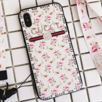 GUCCI iPhoneX female fashion flower lanyard phone case F0271-1 White