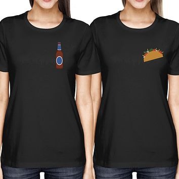 Taco and Beer BFF Women's Best Friend Pocket Print Matching Black Shirts Tees for Summer