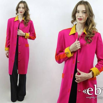 Hot Pink Coat Colorblock Coat 80s Coat 1980s Coat Colorblock Jacket Pink Wool Coat Long Pink Coat Colorblock Blazer Colorblock Jacket M L