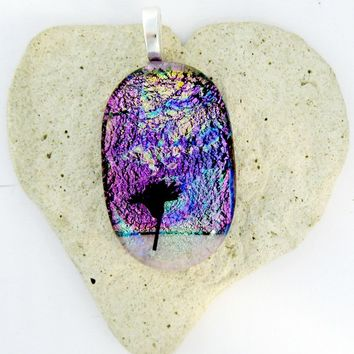 Abstract Fused Dichroic Glass Flower - Fused Dichroic Glass Pendant
