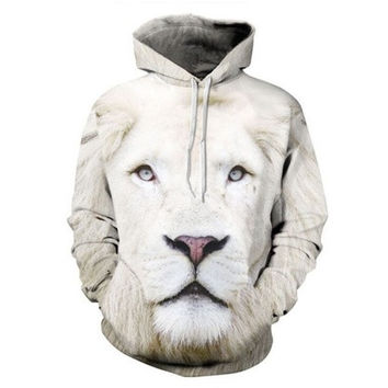 Fashion Hoodies Men Sport Style 3D White Lion Printed Pensonality Sweatshirt Hip Hop Hoodies Pullover [8833551948]