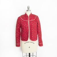 Vintage  1970s Jacket - Red Calico Floral Cotton Quilted Long Sleeve 70s - Small