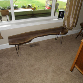 Live edge reclaimed slab black walnut hairpin bench rustic cabin beach house sofa table footbed console - free shipping