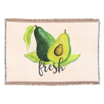 Fresh Green Avocado Still Life Fruit in Watercolor Throw