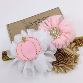 Fall Headband Gold & Pink Pumpkin Headband Thanksgiving Headband M2M Giggle Moon Couture  Ballerina Flower Photo Prop Girls Headband