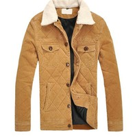 Free Shipping Yellow Removable Fur Collar Men Lapel Corduroy Single-Breasted Short Coat M/L/XL T-A135-853