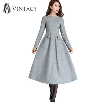 Vintacy 2017 women dress slash neck pockets women dress mid length spring autumn dress long sleeve women party dress summer