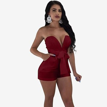 Sexy Strapless Women Summer Playsuits Bodycon Off Shoulder Female Romper Solid Color Lady Summer Jumpsuits