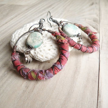 Bohemian Hoop Earrings, Silk Wrapped Copper Hoops with Clay Beads and Sterling Ear Wires