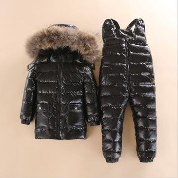 -30 2~4 Y Russian Child Winter Ski Snowsuit Baby white down Boys Waterproof Clothing Set jacket Kids Coat for Girls Enfant Parka