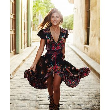 Summer Boho Dress Ethnic Sexy Print Retro Vintage Dress Tassel Beach Dress Bohemain Hippie Dress