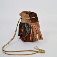 1970s Patchwork Amulet Pouch / Suede Sack / Leather Fringe / Vintage Purse / Festival Style / Drawstring / Blue and Brown