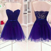 Short Tulle Belt Homecoming Dress
