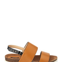 FOREVER 21 Colorblocked Leather Flatform Sandals Tan