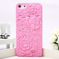 Pink Silicone Peony Carved IPhone 5.. on Luulla