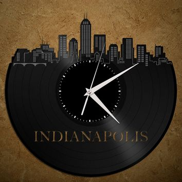 Indianapolis Skyline - Indiana Art Clock, Kitchen Decor, Cityscape Wall Clock, Repurposed Gift Idea, Unique Wall Clock, Large Wall Clock