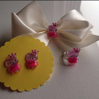 Pink White Hello Kitty Satin Hair Bow Set Matching Earrings Ring