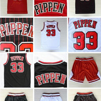 Men's Basketball jersey #33 PIPPEN Sleeveless sports jerseys embroided red casual sportswear nnba jerseys white outdoor basketball shorts