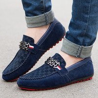 2017 Spring New Slip On Casual Men Shoes Red Bottoms Loafers Breathable Comfort Men's Casual Flat Moccasin Driving Shoes
