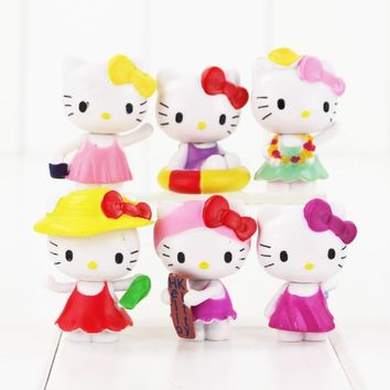 6pcs/set Mini Hello Kitty Figures Toys Lovely Summer Style Hello Kitty PVC Action Figures Toys Figurines Kids Toys for Girl