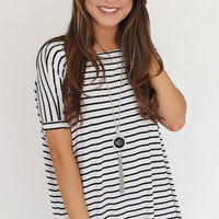 Authentic Striped Short Sleeve Piko Top, Black
