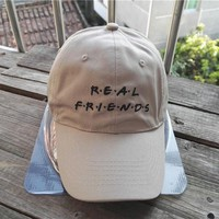 """Real Friends"" Hats Adjustable Unisex Baseball Caps"