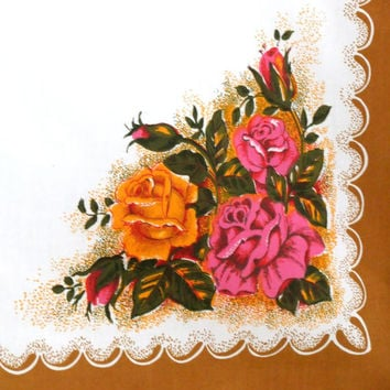 Vintage tablecloth - Retro Table Cover - Irish Linen MillsTableware -pink and gold /orange roses - Floral Tablecloth - Wedding Table Cover