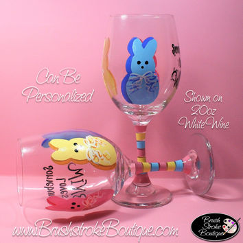Hand Painted Wine Glass - Somebunny Loves Wine - Original Designs by Cathy Kraemer