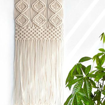 "Handmade Macrame Wall Hanging Woven Tapestry - BOHO Chic Home Art Decor - Bohemian Apartment Studio Dorm Decorative Interior Wall Decor - Living Room Bedroom Nursery Craft Decorations, 12.0""W x 25.0""L"