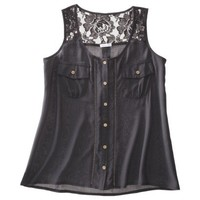 Xhilaration® Juniors Sleeveless Lace Utility Top - Assorted Colors