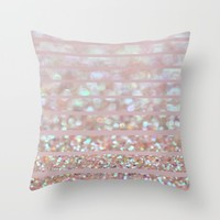 Bubbly Party and Stripes Throw Pillow by Lisa Argyropoulos
