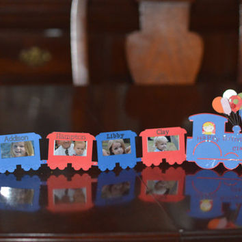 Birthday Train custom made personlized with pictures in box cars