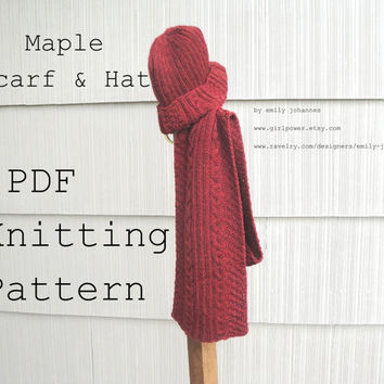 Maple Scarf & Hat PDF Knitting Pattern, Men - Women, Worsted Yarn, Easy Cables - Rib - Moss