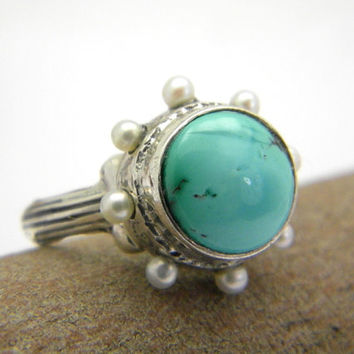 Turquoise Sterling silver ring and tiny pearls , turquoise rustic statement ring , oxidized antique style size 7.5