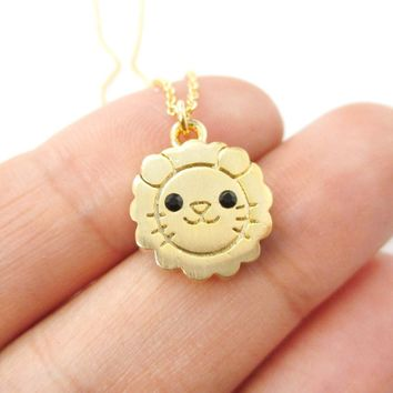 Lion Shaped Adorable Animal Inspired Pendant Necklace in Gold | DOTOLY