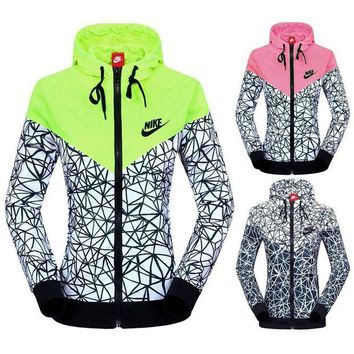 DCCKBA7 NIKE' Women Zip Hooded Sweatshirt Jacket Sport Cardigan Coat Windbreaker Sportswear