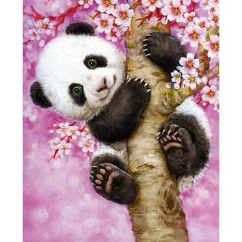5d DIY Diamond Painting Full Round Drill Baby Panda Picture Mosaic Diamond Crystal Embroidery Kit Home Decoration Wall Art Craft
