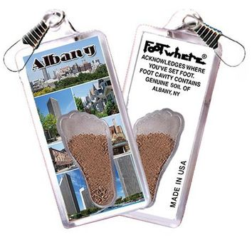 Albany, NY FootWhere® Souvenir Zipper-Pull. Made in USA