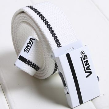 VANS men and women canvas smooth buckle simple wild jeans belt F0412-1 White