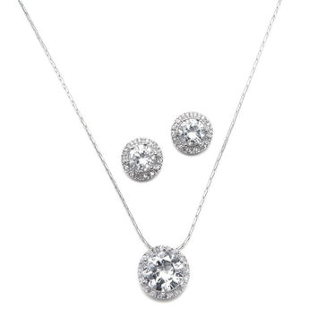 CZ Solitaire Wedding Necklace and Earring Set